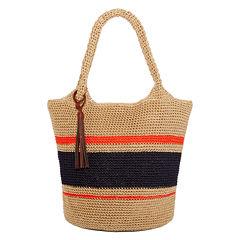 Straw Studios Striped Polystring Hobo Bag