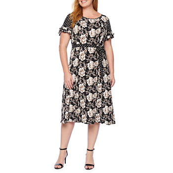 Perceptions Short Sleeve Floral Puff Print Fit & Flare Dress-Plus