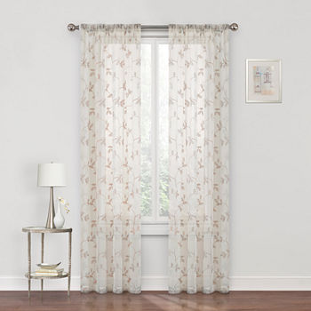 Regal Home Meadow Embroidered Sheer Rod-Pocket Single Curtain Panel