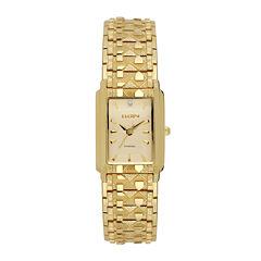 Elgin® Womens Gold Nugget Diamond-Accent Bracelet Watch