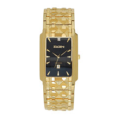 Elgin® Mens Gold-Tone & Diamond-Accent Rectangular Watch