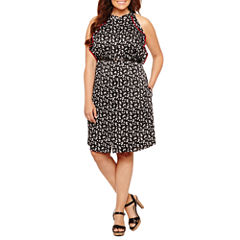 Worthington Sleeveless Shirt Dress-Plus