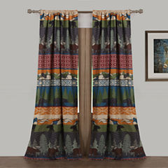 Greenland Home Fashions Black Bear Lodge Rod-Pocket Curtain Panel