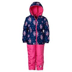 Pink Platinum Heavyweight Floral Snow Suit-Preschool Girls