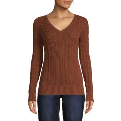 St. John\u0027s Bay Womens V Neck Long Sleeve Pullover Sweater