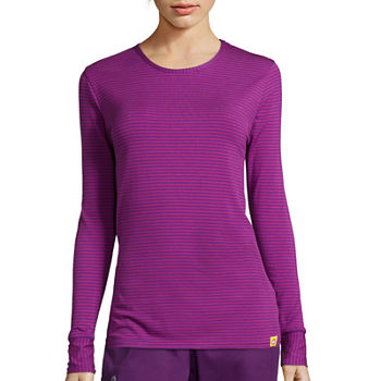WonderWink® Layers 2079 Womens Long-Sleeve Striped Tee - Plus