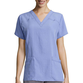 WonderWink® Four-Stretch 6214 Womens Short-Sleeve Sporty V-Neck Top - Plus