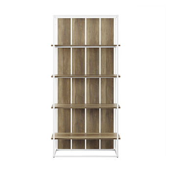 Farmhouse Wood Paneled 4-Shelf Bookcase