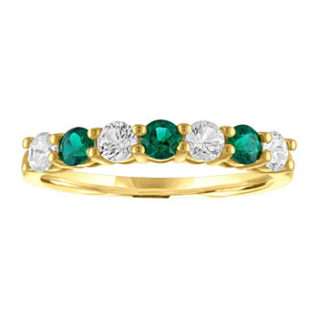 Lab Created Green Emerald 10K Gold Band