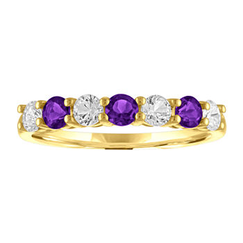 Womens Genuine Purple Amethyst 10K Gold Stackable Ring