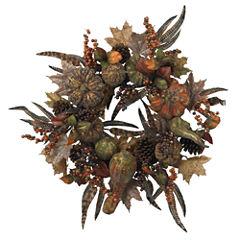 Nearly Natural 28 Autumn Pumpkin Wreath