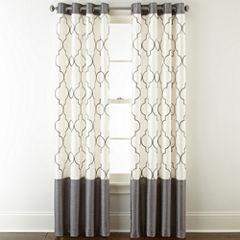 Liz Claiborne Westfield Embroidery Room-Darkening Grommet Curtain Panel