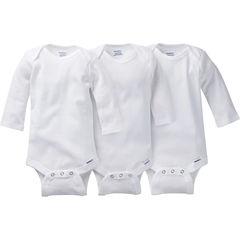 Gerber® 3 Pack Long Sleeve White Onesies® Bodysuits