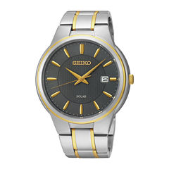 Seiko® Mens Two-Tone Stainless Steel Solar Watch SNE404