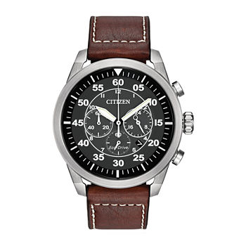 Citizen Avion Mens Chronograph Brown Leather Strap Watch-Ca4210-24e