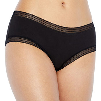 Ambrielle Lace Trim Cotton Hipster Panty