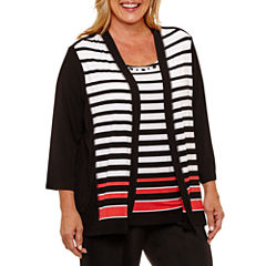 Alfred Dunner Saratoga Springs 3/4 Sleeve Striped Layered Top-Plus