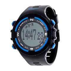 Everlast Black and Blue Pedometer Watch