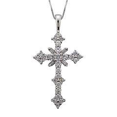 1½ CT. T.W. Certified Diamond 14K White Gold Cross Pendant Necklace