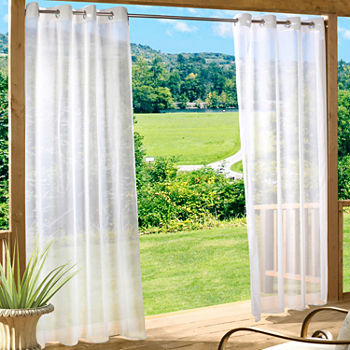 Escape Solid Indoor/Outdoor Grommet-Top Single Outdoor Curtain Panel