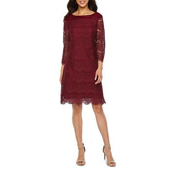 eb4870ee9d409 Ronni Nicole 3/4 Sleeve Scroll Shift Dress-Petite