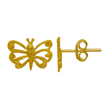 Itsy Bitsy 14K Gold Over Silver Sterling Silver 6.6mm Butterfly Stud Earrings