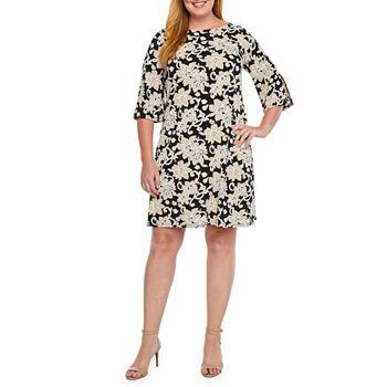 Msk 3 4 Sleeve Floral Puff Print Shift Dress Plus