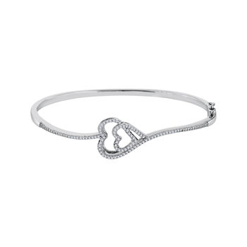 ForeverMine® 1/3 CT. T.W. Diamond Sterling Silver Double-Heart Bangle Bracelet