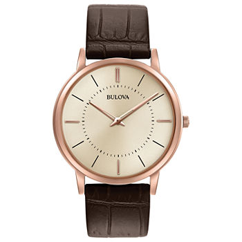 Bulova Classic Mens Brown Leather Strap Watch-97a126