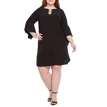 MSK 3/4 Bell Sleeve 3-Ring Shift Dress