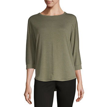 079bfd8c56c9bd a.n.a-Womens Crew Neck 3/4 Sleeve T-Shirt