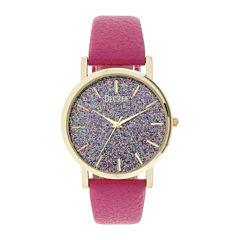 Decree® Womens Pink Glitter Dial Watch