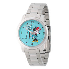 Disney Minnie Mouse Womens Silver Tone Bracelet Watch-Wds000258