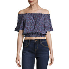 Us Polo Assn. Floral Off Shoulder Crop Top-Juniors