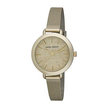 Laura Ashley Womens Stainless Steel Gold Mesh Strap Watch-LA31069YG