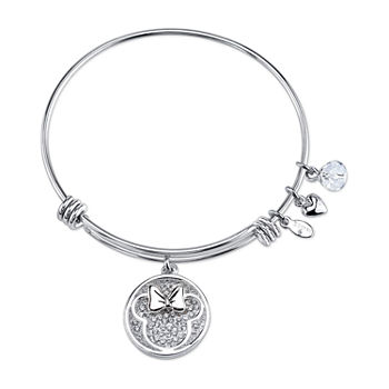 Disney Minnie Mouse Silver Over Brass Solid Bangle Bracelet