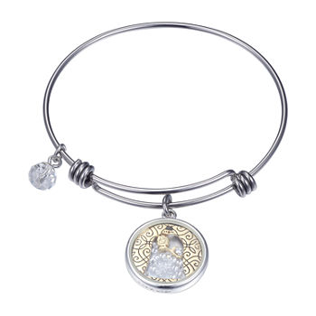 Disney Beauty and the Beast Silver Over Brass Stainless Steel Bangle Bracelet
