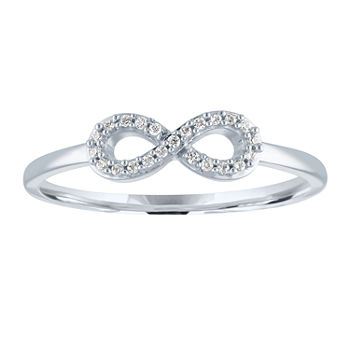 Womens Diamond Accent Genuine Diamond 10K White Gold Infinity Cocktail Ring