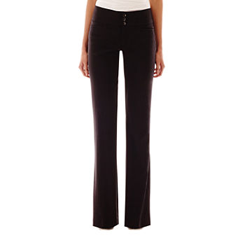 Hollywould Womens Mid Rise Straight Workwear Pant-Juniors