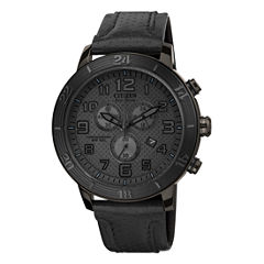 Drive from Citizen® Eco-Drive® Mens Black Leather-Strap Chronograph Watch AT2205-01E