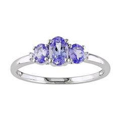 10K White Gold Tanzanite 3-Stone Ring