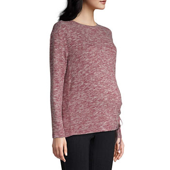 Belle + Sky-Maternity Womens Scoop Neck Long Sleeve Pullover Sweater