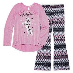 Self Esteem Ruffle Top Legging Set w/ Necklace - Girls' 7-16 and Plus