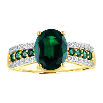 Womens Lab Created Green Emerald 10K Gold Cocktail Ring