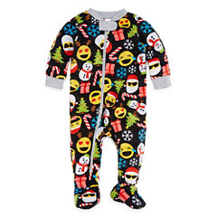 North Pole Trading Co. Merry Textmas Microfleece Family One Piece Pajamas-Baby