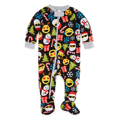 North Pole Trading Co. Merry Textmas Microfleece Family One Piece Pajamas-Baby