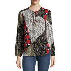 Libby Edelman Long Sleeve Lace Up Top
