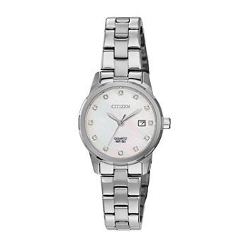 Citizen Womens Crystal Accent Silver Tone Stainless Steel Bracelet Watch - Eu6070-51y