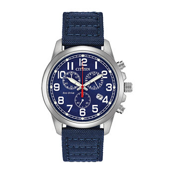 Citizen Military Mens Chronograph Blue Strap Watch-At0200-21l