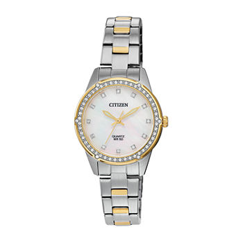 Citizen Womens Crystal Accent Two Tone Stainless Steel Bracelet Watch - Er0224-51d